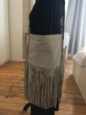 River Island Fringed Bag silver-colored-beige leather