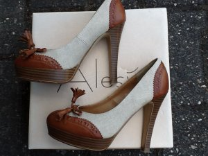 Tolle High Heels / Pumps mit Plateau in beige/Cognac in Größe 35