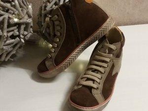 Sneaker alta color cammello-bronzo Pelle