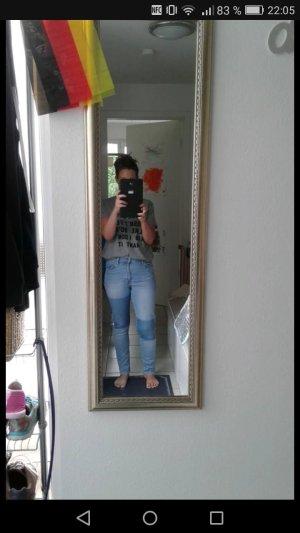 tolle high waist mom jeans mit color blocking super zustand