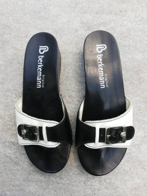 Berkemann Sandalo con tacco nero-bianco Pelle