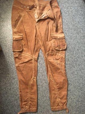 Pantalone cargo color cammello-cognac