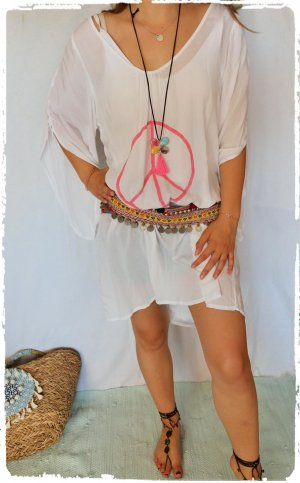 Robe Hippie blanc-rose