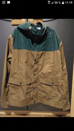 H&M Cortaviento marrón claro-verde bosque