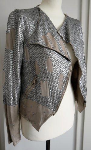 Tolle Jacke mit matten Pailletten von Topshop in nude und silber