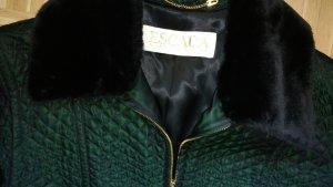 Tolle Jacke von ESCADA, grün changierend Gr 40 Frühjahr Herbst mit abnehmbaren Pelzkragen