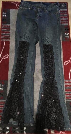 Tolle Jeans mit Pailletten und Spitze Gr. S