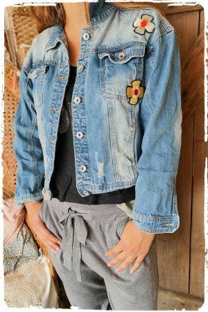 Tolle Jeansjacke aus Ibiza Pailletten Stickereien Hippie