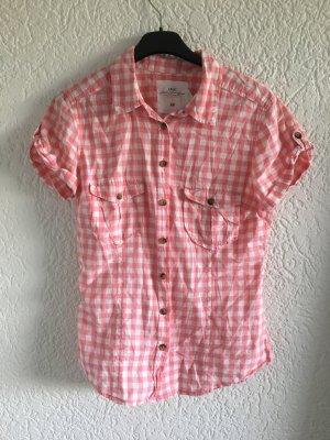 tolle karierte Bluse von H&M rosa weiss trachtenhemd shirt oberteil Gr. 34/36