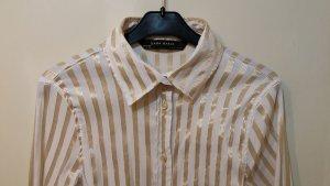 tolle Langarm Bluse von ZARA Gr. S in weiß mit goldenen Streifen Blogger trend