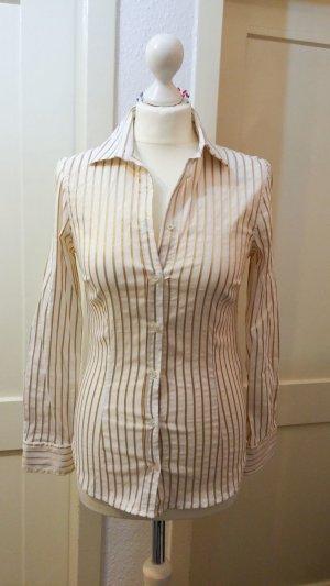 tolle Langarm Bluse von ZARA Gr. S weiss gold Streifen, casual, Outfit, Blogger