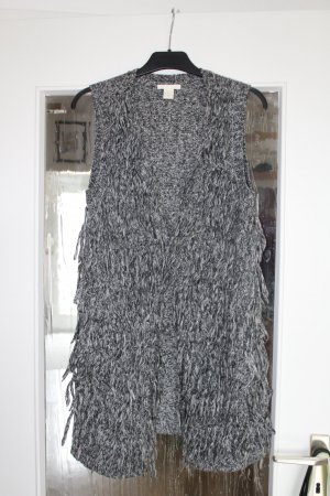 H&M Fringed Vest white-grey