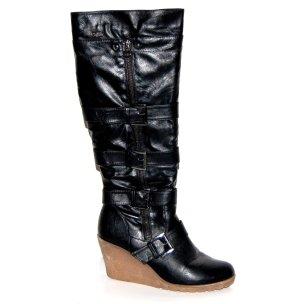 tolle - Leder - Keil - Stiefel - schwarz von Buffalo - Gr. 38