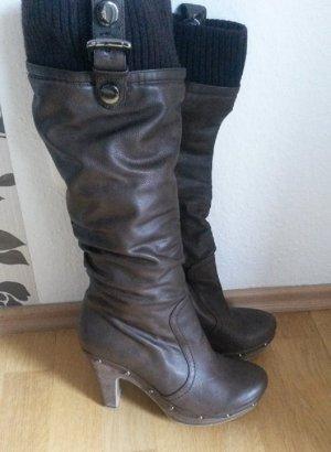 Tolle Leder Winter - Stiefel High Heels 11cm von MIGATO® GR:40