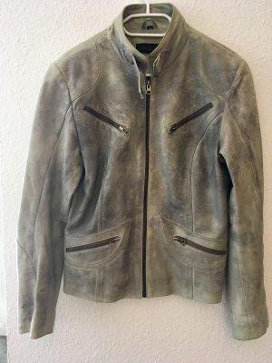 Cabrini Leather Jacket sage green-light grey