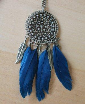 Necklace blue-bronze-colored