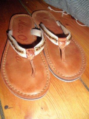 Sandalias con talón descubierto marrón-marrón arena Cuero