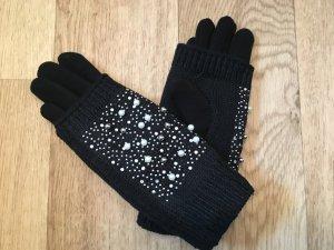 Tolle neue schwarze Handschuhe mit Perlen