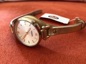 tolle neue Uhr von Fossil in Gold mit Lederband TOP NP 99 €