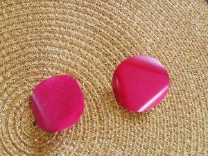 Pendientes de clip rosa-rosa neón madera