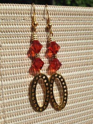 Tolle #Ohrringe #Ohrhänger aus Swarovski Crystal Fire Opal orange und gold
