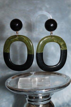 Statement Earrings black-olive green