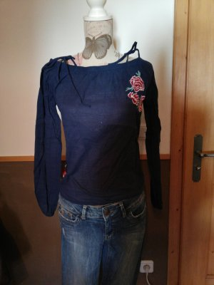 tolle One-shoulder Bluse QS dunkelblau mit Patches Gr. 36