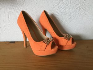 tolle orange High Heels mit goldener Ketten Verzierung