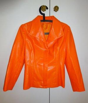 Tolle orange Jacke - leicht knautschiges Kunstleder