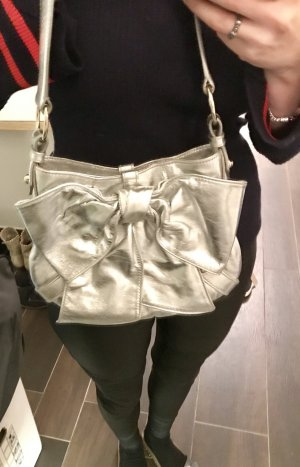 Tolle Original YSL Yves Saint Laurent Handtasche Silber Bow Leder Zertifikat