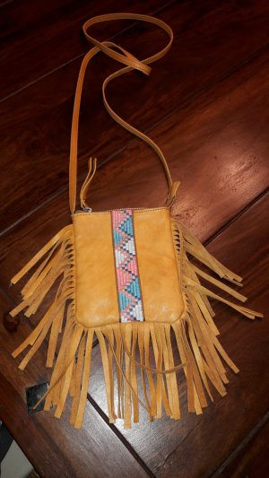 Pieces Fringed Bag cognac-coloured leather