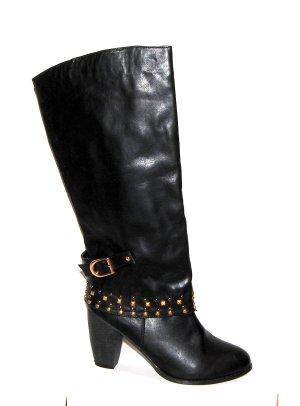 Tolle Plateau Lederstiefel in schwarz von 101 Fashion Gr.41