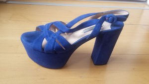 Prada Platform Pumps blue leather