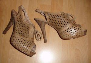Sandales à talons hauts et plateforme brun sable cuir