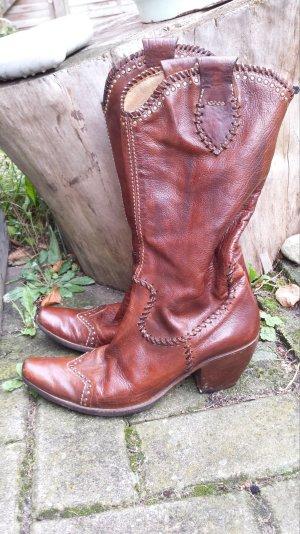 Tolle PRIMA BASE US NAVY Cowboy Stiefel BIKER BOOTS Echht Leder gr 38 NP 469