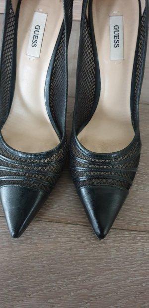 Guess Zapatos de punta negro Cuero