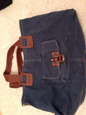 Tolle robuste Tasche in Jeansoptik mit braunen Henkeln / nie benutzt