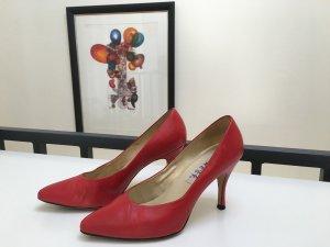 Tolle rote Lederschuhe / High Heels von Nine West mit Pfennigabsatz