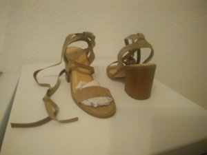 High-Heeled Sandals light brown-sand brown imitation leather