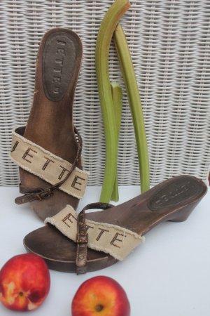 tolle Sandaletten vo Jette Joop * Logo * Holz * Leder * Leinen *