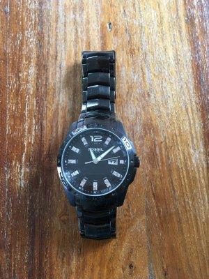 Tolle schwarz glänzende Fossil Uhr