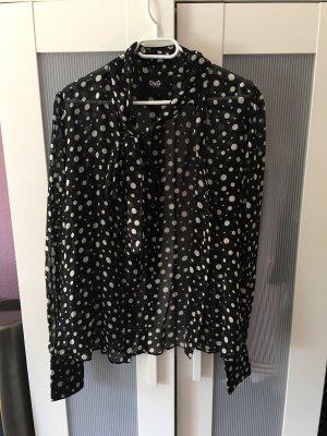 tolle schwarz weiß gepunktete Bluse transparent