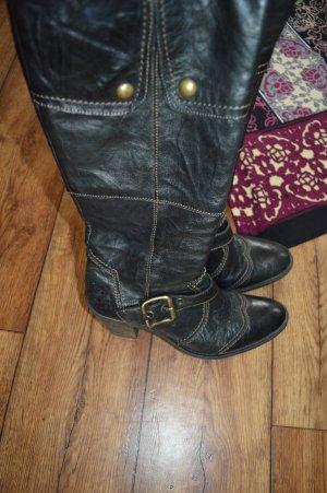 Tolle schwarze kniehohe Echtleder-Stiefel mit Absatz Gr.37 EllenBlake