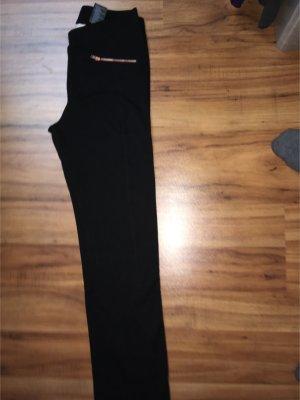 Tolle schwarze Leggings von H&M, goldener Reißverschluss, wie neu, Gr. 170(XS)