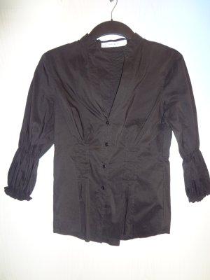 Tolle schwarze Zara-Bluse mit Raffungen am Arm (Gr. S)