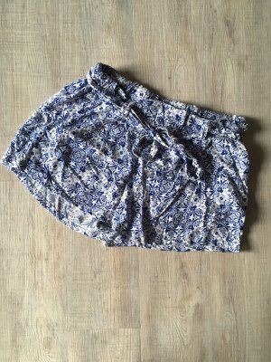 Amisu High waist short wit-staalblauw