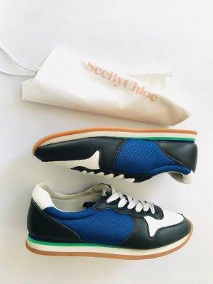 Tolle Sneaker / Schnürerschuhe von See By Chloe, Gr. 39 EU, weiss-blau, Leder