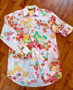 tolle Sommerbluse von Zara basic, Größe M, buntes Blumenmuster, langarm mit Krempeloption
