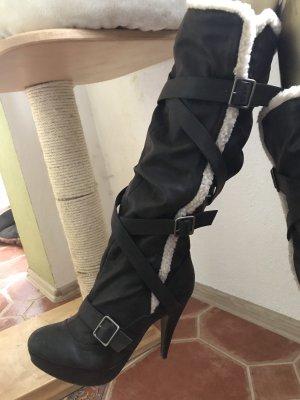 High Heel Boots dark brown-natural white