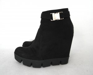 Wedge Booties black-silver-colored imitation leather